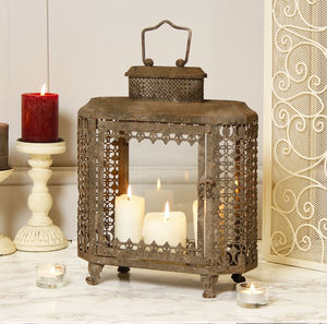 Large Clouded Grey Candle Lantern - lighting