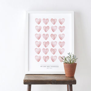 Watercolour Personalised Wedding Hearts Print - posters & prints
