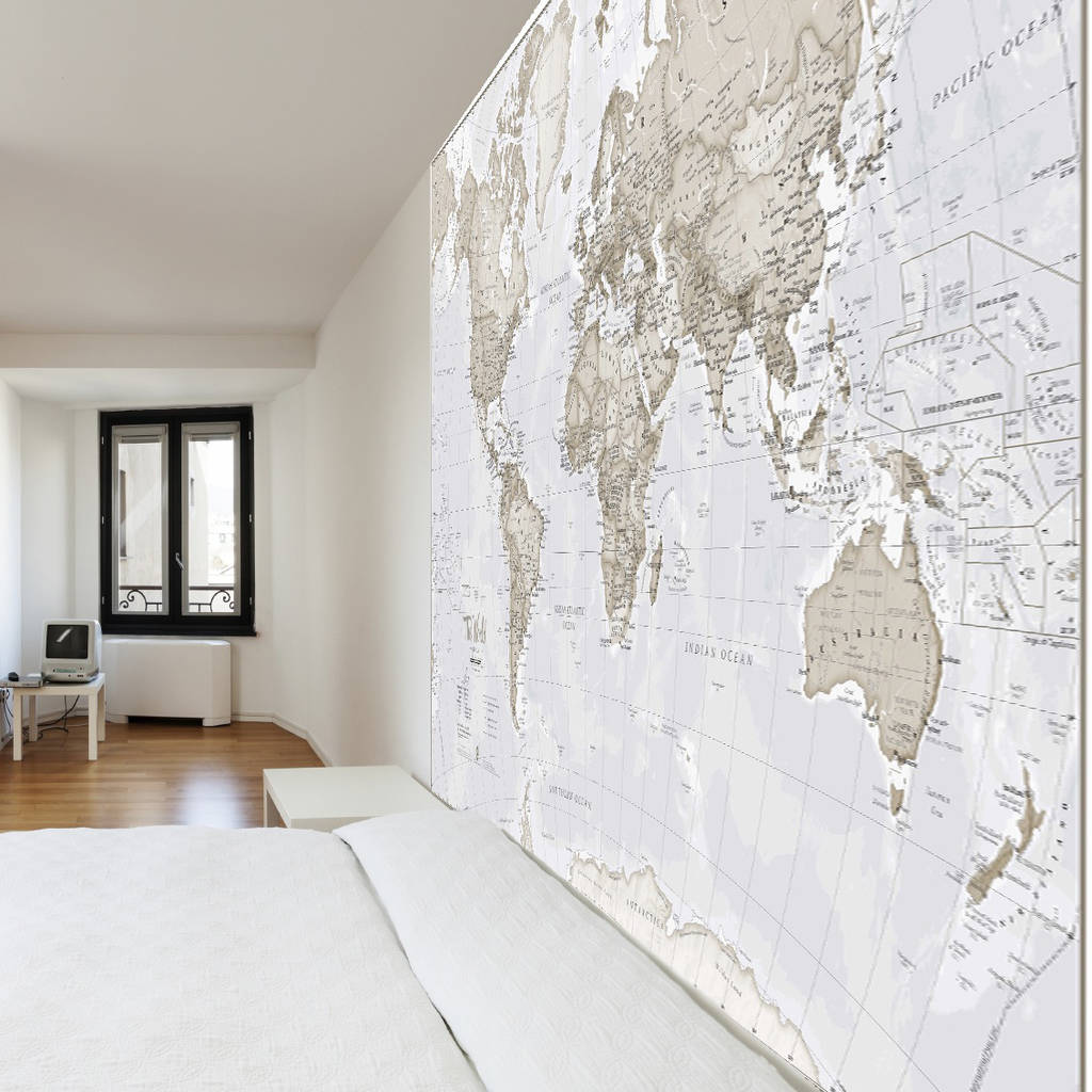 giant neutral world map mural by maps international