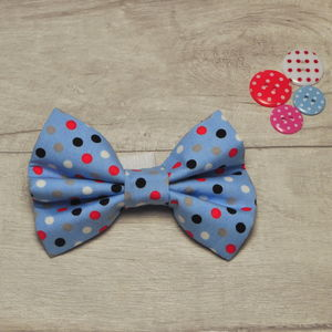 Blue Polka Dot Dog Bow/ Bow Tie For Dogs - dogs