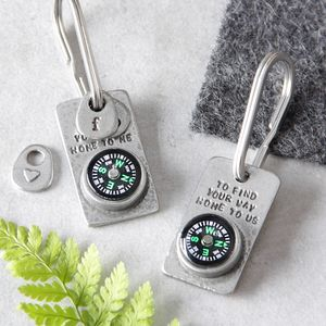 'To Find Your Way Home' Compass Keyring - frequent traveller