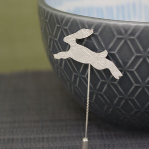 Sterling Silver Watercolour Baby Hare Pin