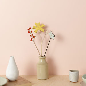 Decorative Wooden Flowers Lemon Cornflower Set - home accessories