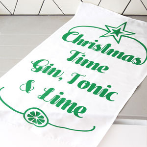 Gin And Tonic Christmas Tea Towel - winter sale