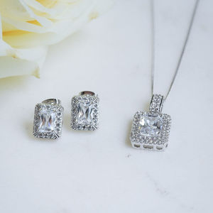 Emerald Cut Crystal Earrings And Pendant Set