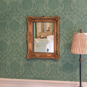 Rectangular Gold Ornate Mirror - mirrors