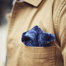 Navy Corduroy Floral Pocket Square