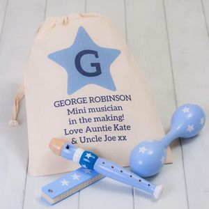 Children's Blue Musical Instruments Set And Storage Bag - gifts for children