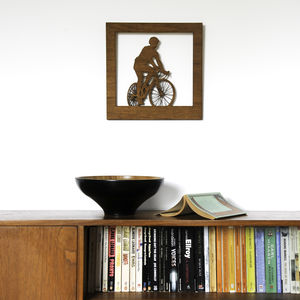 Road Bike Cyclist Silhouette Woodcut Wall Art