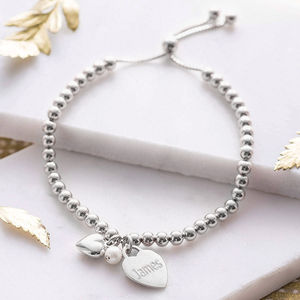 Personalised Sterling Silver Ball Slider Bracelet - more