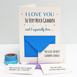 Reasons I Love Grandpa Secret Messages Card - personalised cards