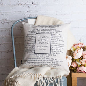 Personalised Wedding Song Cushion Cover - summer sale