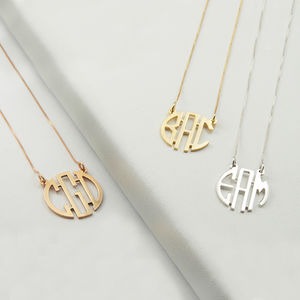 Sterling Silver Personalised Circle Monogram Necklace