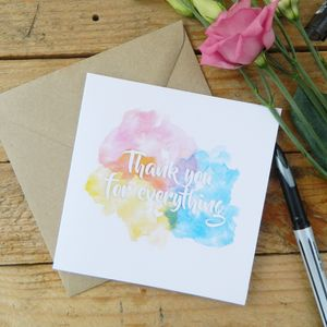 Thank You Watercolour Card