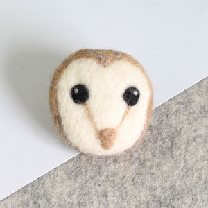 Barn Owl Brooch Needle Felting Craft Kit - sewing & knitting