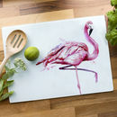 Inky Flamingo Glass Worktop Saver