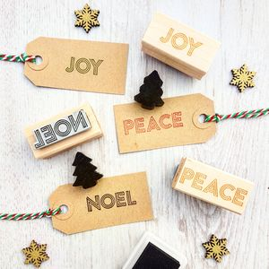 Peace, Joy, Noel Set Of Three Christmas Rubber Stamps
