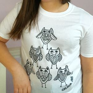 Colour In Childrens Owl Pyramid T Shirts