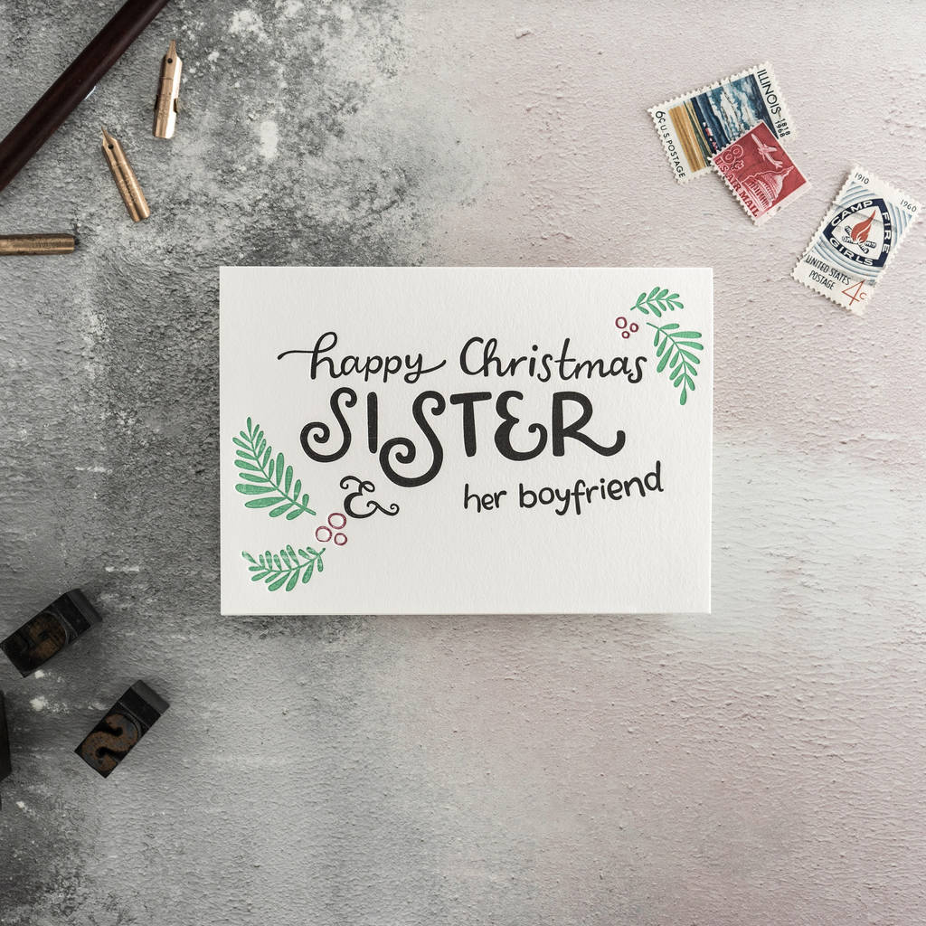 sister and her boyfriend letterpress christmas card by hunter paper