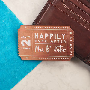 Personalised Solid Copper Couples Ticket Wallet Card - mens