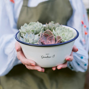 Personalised Enamel Planter - gifts for her