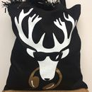 DJ Stag Reindeer Xmas Cotton Black, White and Gold Tote Shopper Bag - Lou Boyce