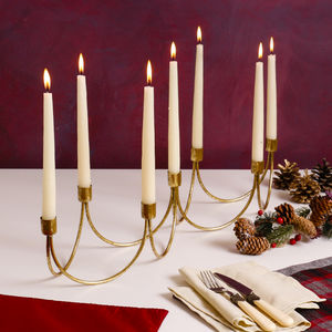 Luxury Festive Christmas Gold Wave Candelabra - christmas lighting