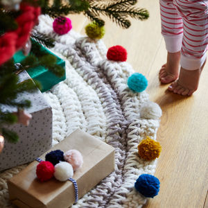 Chunky Knit Pom Pom Tree Skirt - christmas decorations