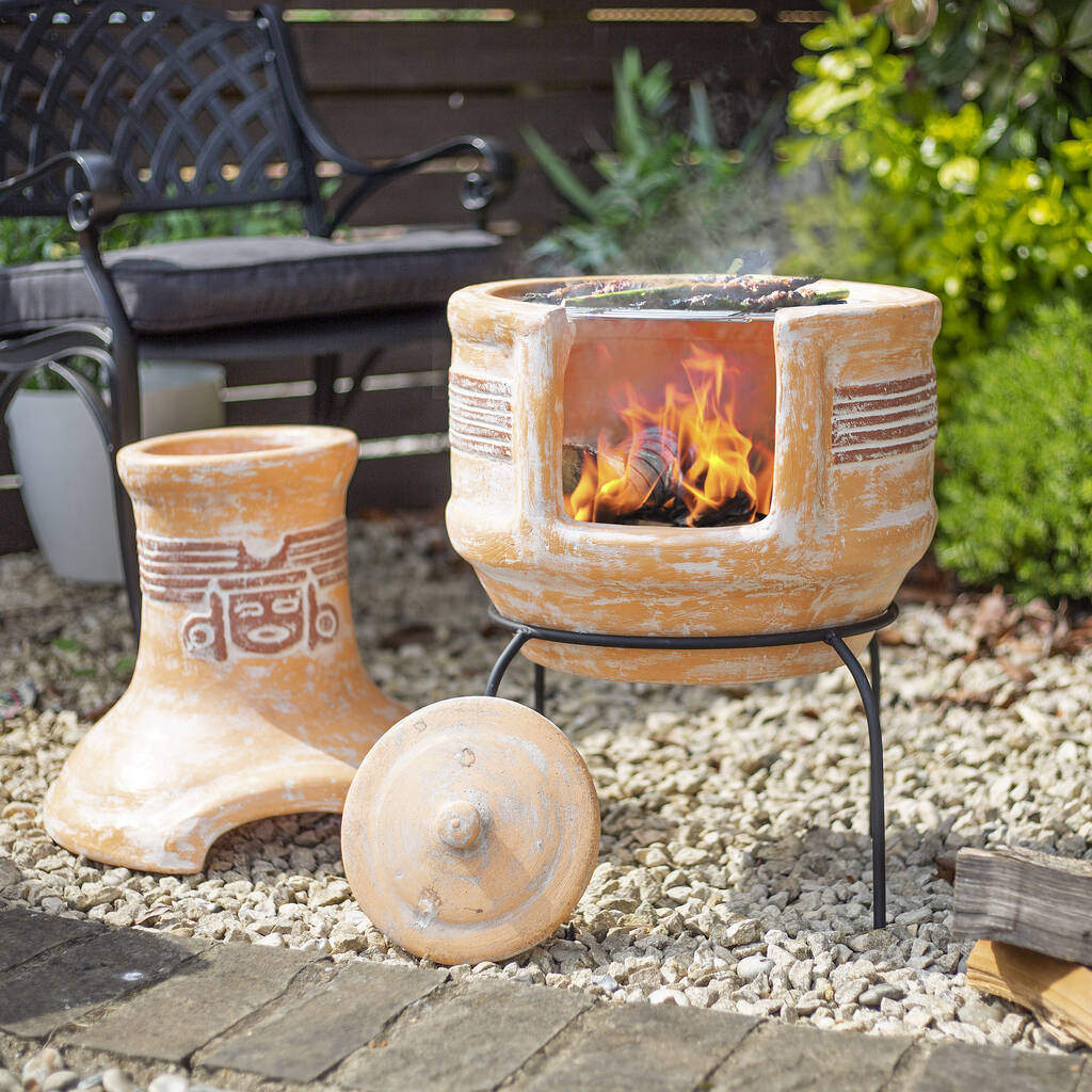 Two Piece Clay Chiminea With Grill