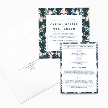 Tropical Pink Palm Print Invitation Suite