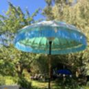 Mint Green And Gold Hand Painted Garden Parasol
