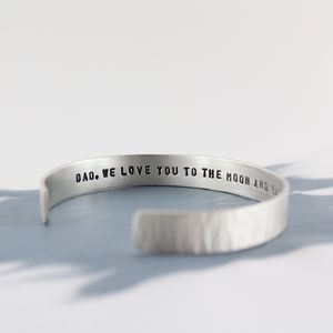 Mens Personalised Textured Silver Cuff Bracelet