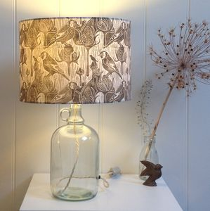 Goldfinches And Teasel Glass Bottle Table Lamp - table lamps