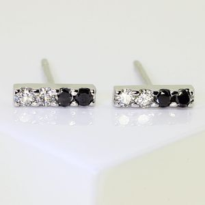 White Gold Diamond Bar Earrings - earrings