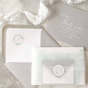 Luxury Eucalyptus Wedding Invitations With Vellum Wrap - invitations