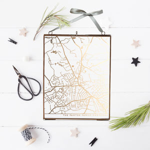 Metallic Personalised Map In Glass Frame - gifts for her