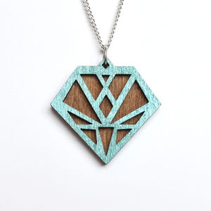 Contemporary Geometric Diamond Pendant Necklace D3