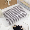 Personalised Mini Stripe Charcoal Unisex Baby Blanket