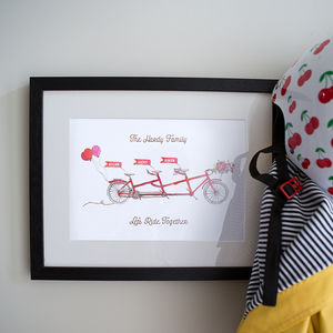 Personalised 'On Your Bike' Family Print - gifts for cyclists
