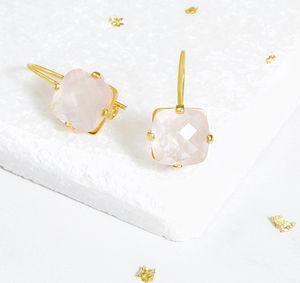 Square Rose Quartz Drop Earrings - earrings