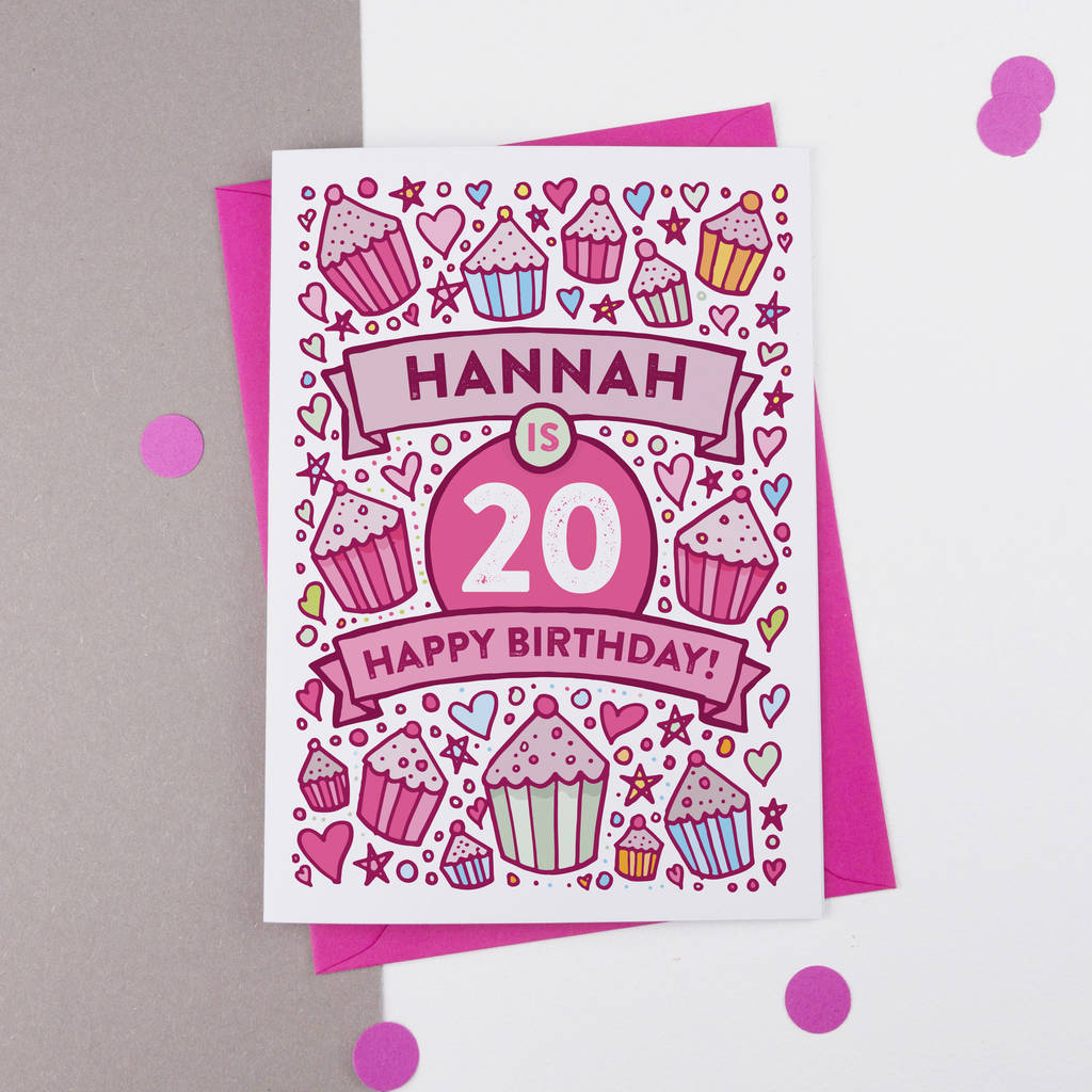 20th Birthday Card Cupcake Personalised