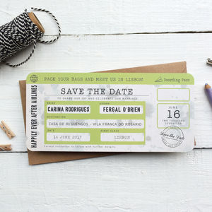 Boarding Pass Save The Date Vintage Style