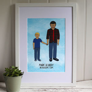 Daddy And Son Digital Portrait Print