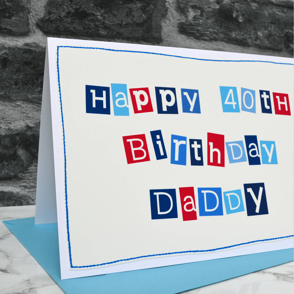 Large A5 Mens Personalised 40th Birthday Card