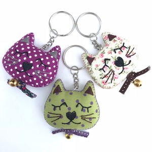 Cat Fabric Keyring