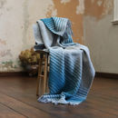 Wool Throw Alberto Gold, Turquoise Grey