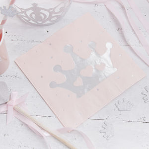 Pink And Silver Foiled Princess Tiara Paper Napkins