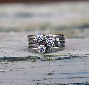 Diamond Stacking Rings In 18ct White Gold