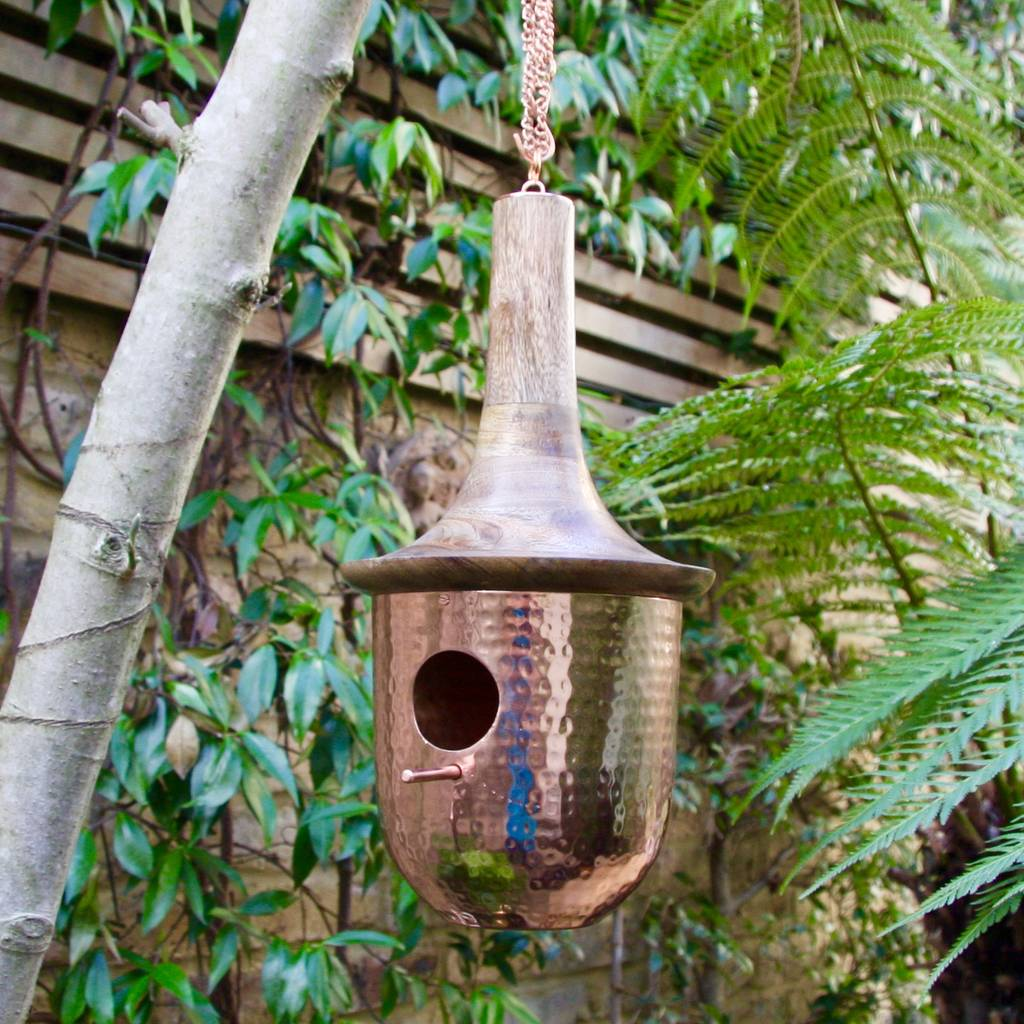 Copper Bird House With Wooden Roof By London Garden