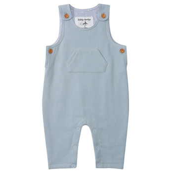 Diddy Dotty Pale Blue Jersey Dungarees